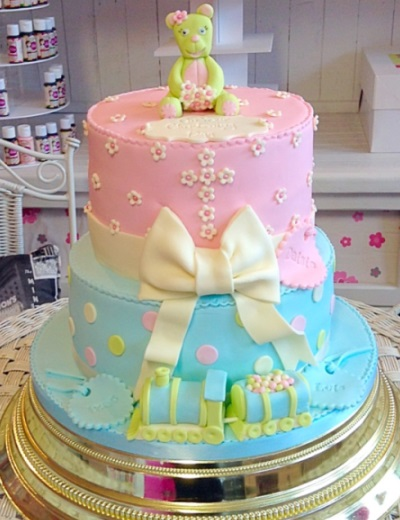 2 Tier Blue and Pink Christening Cake