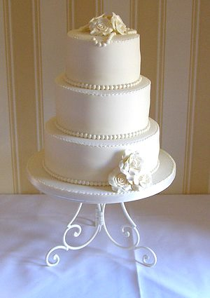 3 Tier White wedding cake