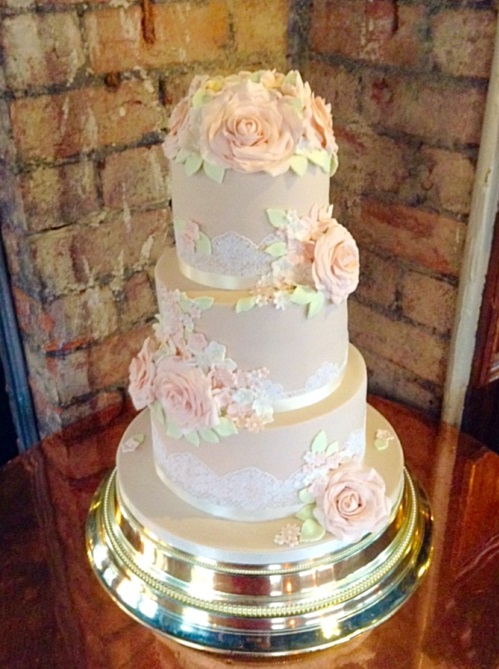 Deep tiered vintage wedding cake