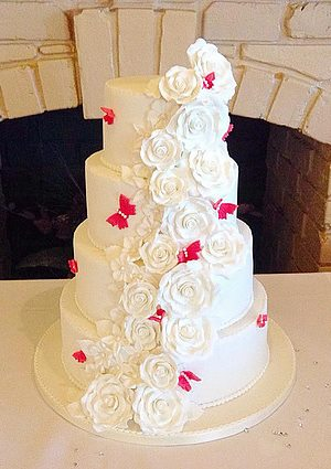 Flowers and Butterflies Wedding Cake