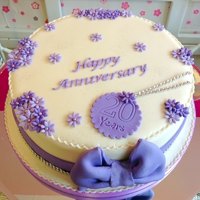 Purple Flowers Anniversary Cake
