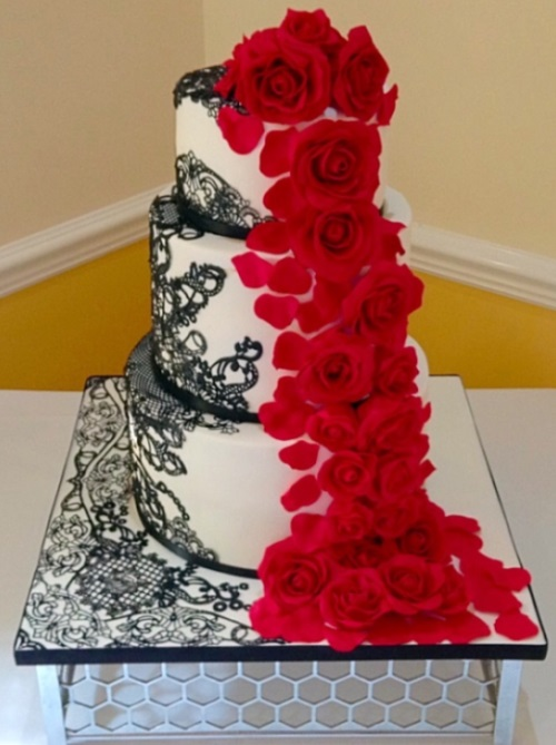 Red Flower Cascade Wedding Cake