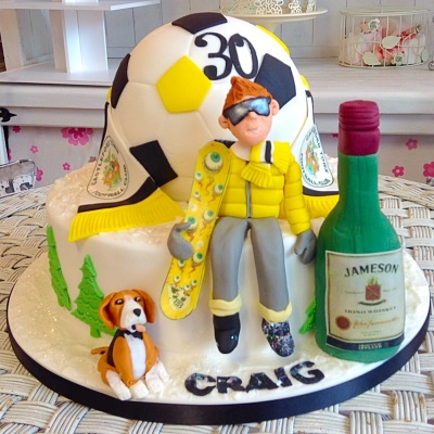 Snowboarding Mens Birthday Cake