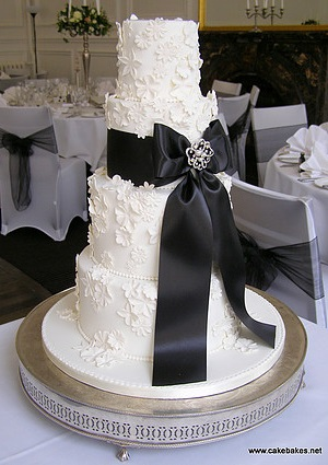 White and Black Ribbon Wedding Cake